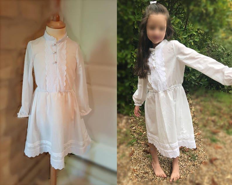 6e64b57135316 Robe fille 6 ans coton blanc robe confirmation baptême blanche