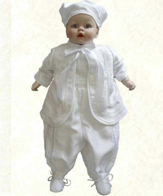 klassischer Stil Werksverkauf Professionel Baby Junge Taufe Kleid - gebundenen Anzug Taufe für Jungen mit Jacke  Schließung Band Cap Farbe weiß made in Frankreich