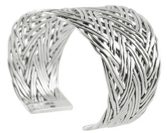 Big bracelet braided sterling silver 4.2 cm wide