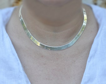8mm solid silver chain mirror mesh necklace, woman gift