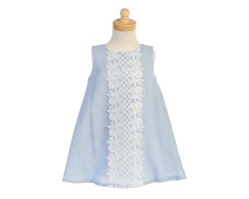 eb2398f47a6 Robe fille coton couleurs pastel avec dentelle forme trapèze
