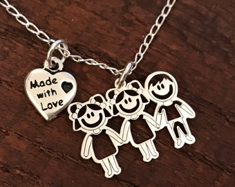 Massive silver customizable mom necklace, Mother's Day gift