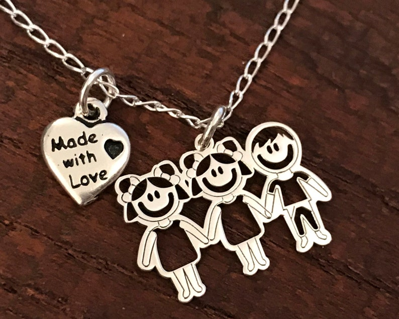 Massive silver customizable mom necklace Mother's Day image 0