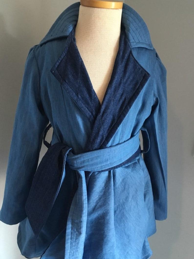 Reversible lightweight denim coat