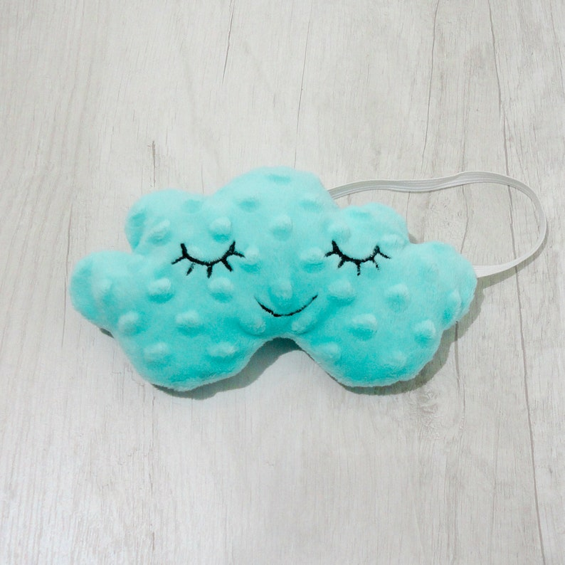 Cloud with Eyes Mask Soft EyeMask Cloud Eye Mask Travel Sleep Mask Cloud Sleep Mask Gift Sleeping Mask for Women Mint Minky Sleep Mask