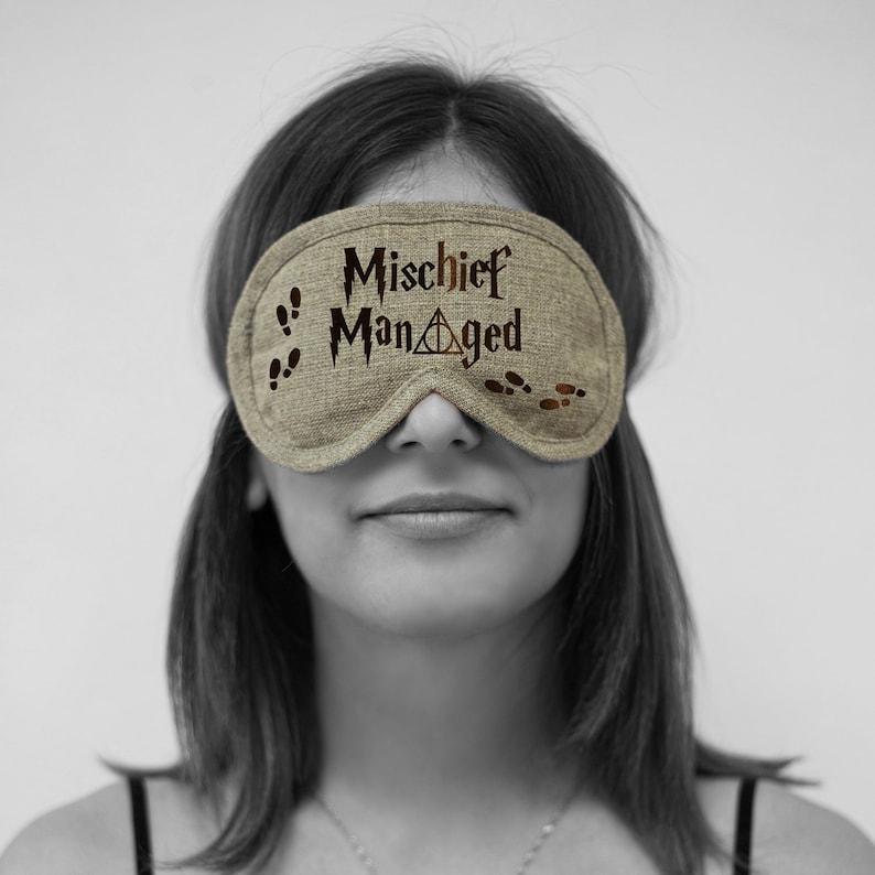 Organic Burlap Sleeping Mask Embroidery Design Bio Sleep Eyewear Wizard Sleep Mask Wizard Eye Pillow Mischief Managed Eye Mask