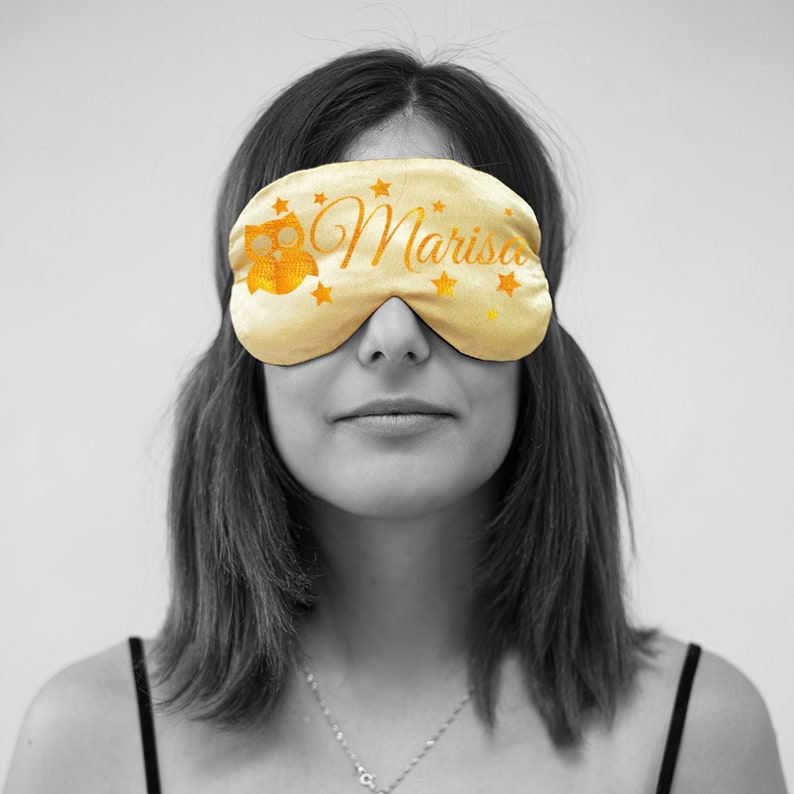 Silk Sleep Mask Embroidery Design Personalized Sleep Mask with Owl Owl Sleeping Mask Sleeping Mask for Girl Silk Blindfold Eye Mask