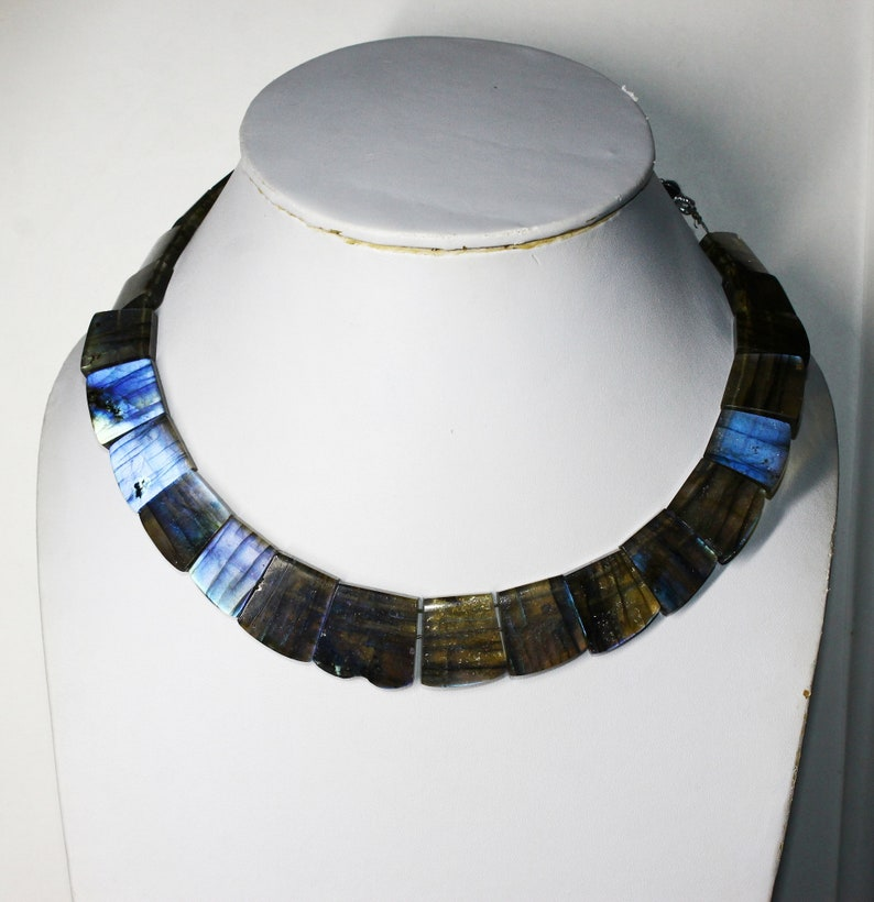 Labradorite Smooth Necklace Fancy Shape Collar Designer Blue Fair Gemstone Necklace Ethnic Bohemian Traditional RareNecklace 14Inch Natural