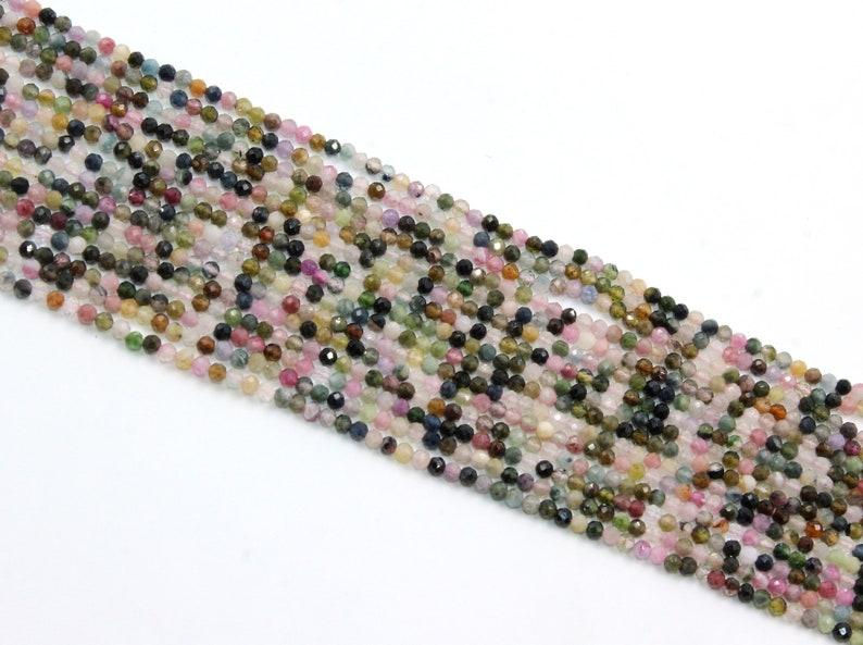 13 Natural Multi Tourmaline Rondelle Beads  2.5 mm Faceted Multi Tourmaline Gemstone Bead  Semi Precious Gemstone Beads  Wholesale Beads