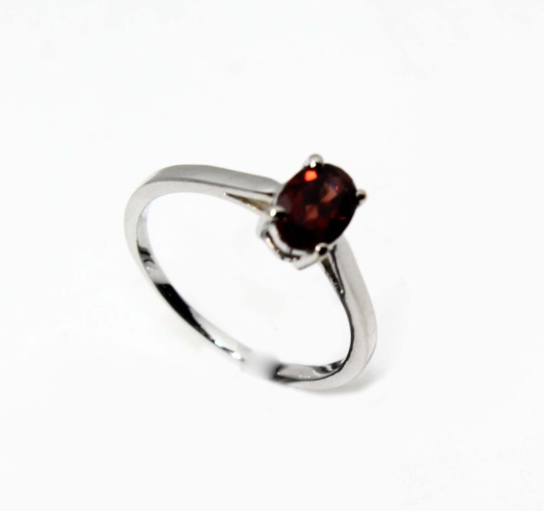 Garnet Ring Emerald Cut Ring Promise Engagement And Wedding Ring Round Ring Handcrafted Gift For Her 925 Sterling Silver