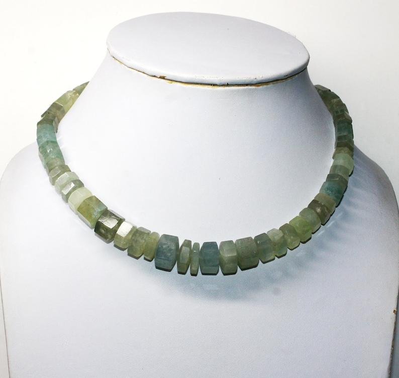 17 Inch Natural Aquamarine Necklace Octagon Shape Collar Necklace Designer Gemstone Necklace Ethnic Sale Bohemian Traditional Unique Gift