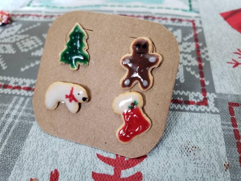 polar bear xmas tree 4pcs tiny stud earrings frosted sugar cookies micro Mismatch Christmas stud earrings gingerbread man stocking