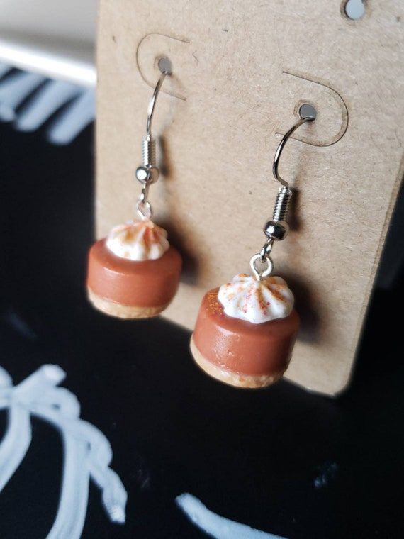 Post or Dangle Pumpkin Pie Set Necklace and Earrings