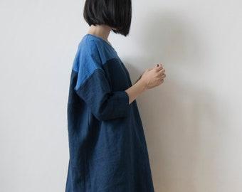 Ultramarine blue and navy linen dress, Handmade Spring Summer Autumn Winter linen dress, Drop shoulder basic kaftan dress, ready to ship