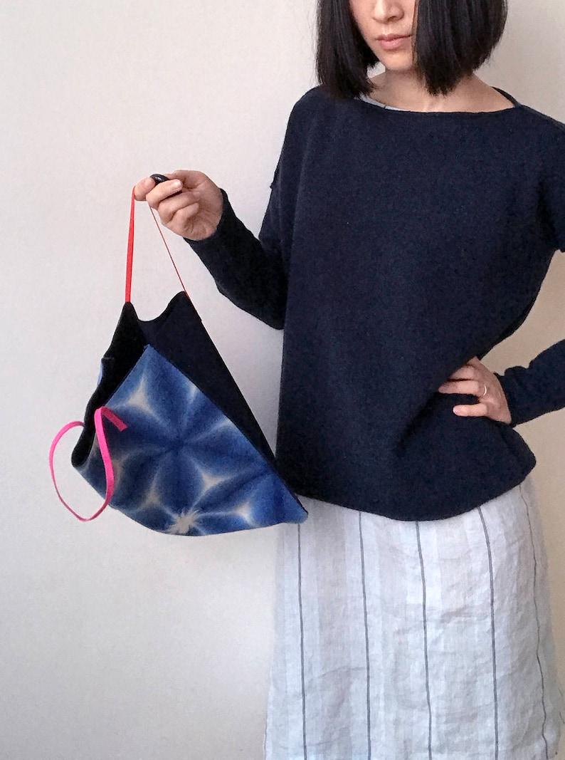 Handmade geometric pattern Japanese vintage fabric bag Shibori dye canvas bag Small cotton bag