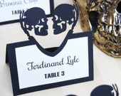 Place Card Template | Tented Skeleton Heart Couple | Halloween Wedding Escort Card, Skull Seating Card, Gothic Name Card | Cricut Silhouette