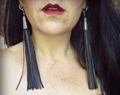 Black Faux Leather Long Tassel Earrings- Vegan Steampunk Gothic Goth Punk Bohemian Gypsy Rocker Rock n Roll