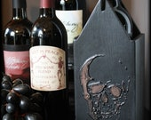 Skull Wine Caddy | Wooden Vino Box | Gothic | Halloween | Goth Home Decor | Macabre | Curiosity | Black and Copper | Hostess Gift