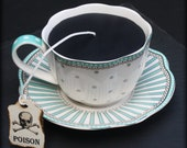 Turquoise White Dots and Stripes | Victorian Gothic Black Tea Cup & Saucer Candle | Apple Clover Scent | Poison Skull Tea Tag | Wonderland