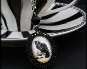 Black Raven Cameo Tea Ball Infuser - Edgar Allan Poe - The Crow - Halloween Gothic Goth Steampunk - Tea Accessory for Loose Leaf Tea