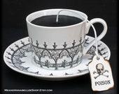 Victorian Gothic Architecture Black Tea Cup Candle | Black White Cup & Saucer | Tobacco Vanilla Scented | Poison Tea Tag | Goth Home Decor