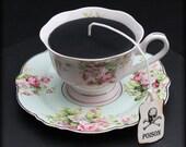 Victorian Gothic Black Tea Cup Candle | Pink Mint Gingham Floral Pattern Cup & Saucer | Grapefruit Scent | Poison Skull Tea Tag | Wonderland