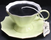 Chartreuse Victorian Gothic Black Tea Cup Candle | Cup & Saucer | Pear Vanilla Scented | Poison Skull Tea Tag | Goth Home Decor | Spring