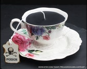 Victorian Tea Cup Candle | Gothic Black | Vintage Floral Script Cup & Saucer | Red Currant Scented | Alice in Wonderland | Poison Skull Tag