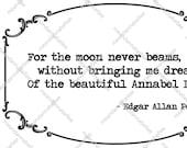Ornate Gothic Border | Annabel Lee Quote | Digital Download Clipart | Halloween Wedding | Edgar Allan Poe | Dark Valentine | Cricut Image