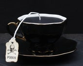Victorian Gothic Tea Cup Candle | Black with Gold Accent Cup & Saucer | Vanilla or Rosemary Currant Scent | Poison Skull Tea Tag | Tea Party