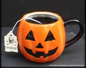 Happy Halloween Jack O Lantern Mug Candle - Orange Pumpkin Tea Cup - Black Candle - Pumpkin Pie Scented - Poison Tea Tag - Spooky