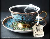 Gothic Black Victorian Tea Cup Candle - Turquoise Blue Black Gold Cup & Saucer - Sandalwood Scented - Poison Tea Tag - Alice in Wonderland