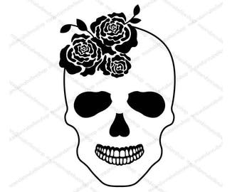 Skull and Roses Image Digital Download Clipart - Gothic Bride | Halloween Wedding | Rock n Roll | Day of the Dead | Female Skull | Cricut