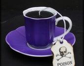 Mini Black Tea Cup Candle | Purple Espresso Cup & Saucer | Black Currant Rose Scented | Poison Tea Tag | Goth Home Decor | Wonderland