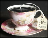 Gothic Black Victorian Tea Cup Candle - Romantic Pink Floral Cup & Saucer - Passion Fruit Scented - Poison Tea Tag - Alice in Wonderland