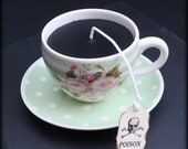 Floral Victorian Gothic Black Tea Cup Candle | Mint Green Stripe Cup & Polka Dot Saucer | Clove Bud Scent | Poison Skull Tag | Wonderland
