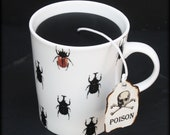 Beetles Coffee Mug Black Candle   Halloween Decor   Mahogany Spice Scent   Poison Skull Tea Tag   Spooky Insects