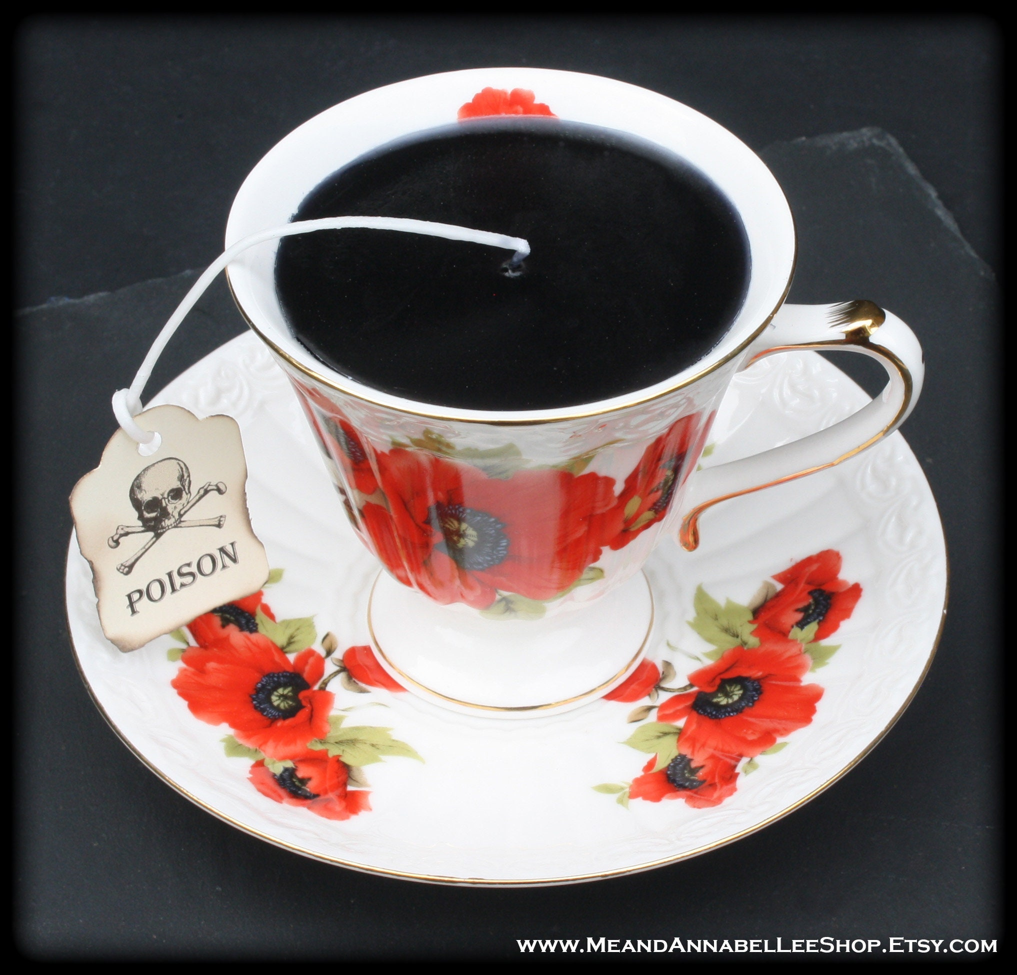 Gothic Black Victorian Tea Cup Candle White With Red Poppy Etsy
