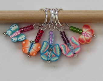 Butterfly beaded knitting stitch markers set of 5
