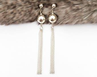 Silver Tassel Earrings, Art Deco Long Earrings, Fringe Earrings, Bridal Earrings, Bridesmaid Earrings, Gift for Her, Gift for Girlfriend