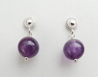 Minimal Earrings, Amethyst Earrings, February Birthstone, Gemstone Earrings, Everyday Jewelry, Sterling Silver, Bridesmaid Gift, Wife Gift