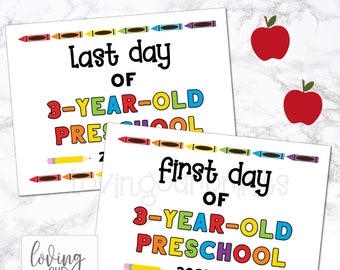 First Day of 3 Year Old Preschool Sign, First Day of Preschool, Printable First Day of School Sign, Back to School Sign, First Last Day