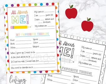 Back to School Printable, All About Me Printable, First Day of School Interview, Back to School Questionnaire, Back to School Kids Printable