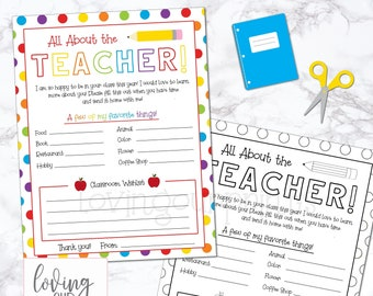 Beginning of the Year Teacher Questionnaire, All About My Teacher Printable, Back to School Teacher Survey, Get to Know Your Teacher Print