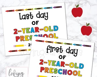 First Day of 2 Year Old Preschool Sign, First Day of Preschool, Printable First Day of School Sign, Back to School Sign, First Last Day