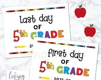 First Day of Fifth Grade Sign, Printable First Day of School Sign, First Day of School Sign, Back to School Sign, First Last Day of School