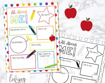 Back to School Interview, First Day of School Printable, All About Me Printable, All About Me Worksheet, Back to School Questionnaire