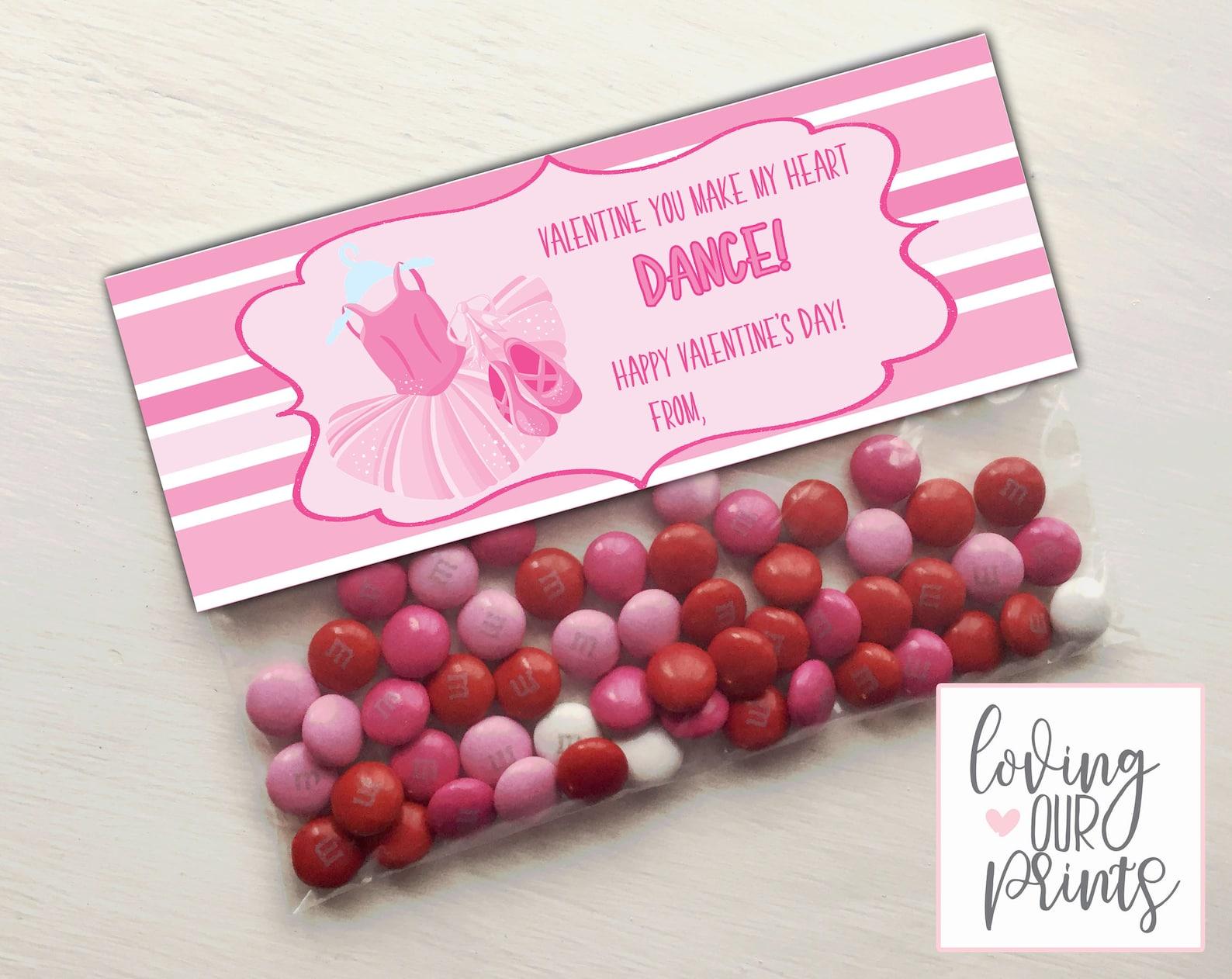 ballet valentine treat bag topper - instant download - printable pink ballet valentine - diy valentine - girl valentine
