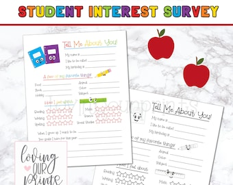 Get to Know Students, Get to Know Me First Day of School, Back to School Printable, Back to School Questionnaire, Interest Inventory