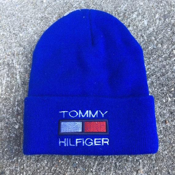 Vintage Tommy Hilfiger Bootleg 90s Beanie Stocking Winter Hat  58600eb5250